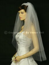 2T Ivory Bridal Fingertip Length Cut Edge Wedding Veil