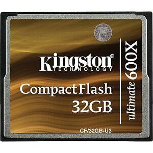 32GB CF KINGSTON ULTIMATE 600x COMPACT FLASH 16 MEMORY 7d 5d Dslr video U2 card