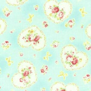 Cottage Shabby Chic Lecien Princess Rose Hearts Fabric 31266L-70 Blue BTY