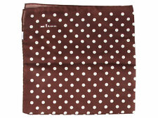 Kiton Napoli handkerchief shawl cloth 100% silk brown dotted new