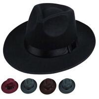 Cool Men Hard Felt Hat Wide Brim Fedora Panama Hat Gangster Vintage Cap