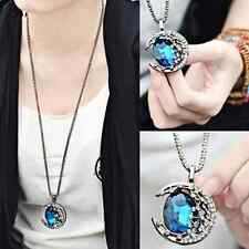 Fashion Women Crystal Rhinestone Moon Pendant Long Chain Sweater Necklace Gift