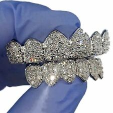 Grillz Set CZ Gems Blinged Teeth Micro Pave Silver Tone Pre-Made Hip Hop Grills