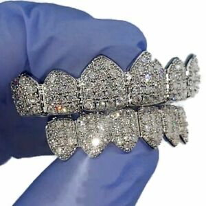 Grillz Set CZ Gems Iced Teeth Micro Pave Silver Tone 6/6 Pre-Made Hip Hop Grills