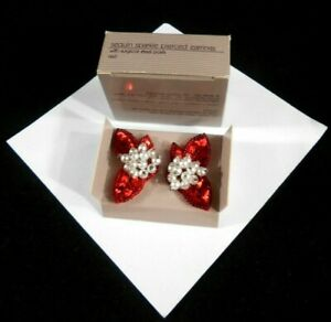 LOVELY AVON SEQUIN SPARKLE PIERCED EARRINGS RED WITH SURGICAL STEEL POSTS NOS