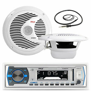 "PLMRB29B Black USB AUX AM FM Boat Receiver, Antenna, 6.5"" 120W Marine Speakers"