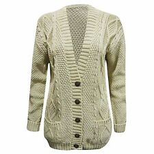 Women Chunky Aran Cable Knitted Grandad Cardigan Ladies Long Sleeve Jumper Top