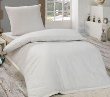 Bettwäsche Renforce Baumwolle 135x200 Kissenbezug 80x80 Einfarbig UNI Weiß