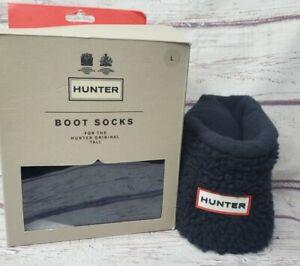 New Hunter Original Tall Sheepy Fleece Cuff Rain Boot Socks Black Size Large