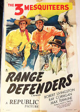 RANGE DEFENDERS! '40'S 3 MESQUITEERS WESTERN RARE ORIGINAL U.S. OS FILM POSTER