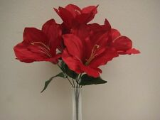 "6 Bushes RED Amaryllis 6 Artificial Silk Flowers 16"" Bouquet 647RD"