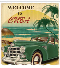 Nostalgic Welcome to Cuba Classic Car Beach and Palm Trees Shower Curtain Set