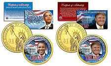 OBAMA & TRUMP Color Presidential $1 Dollar U.S Coins w/FREE Obama Hawaii Quarter