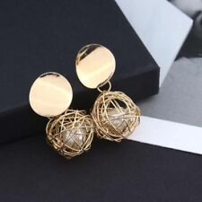 Fashion Charm Women Jewelry A Pearl In A Gold Round Ball Dangle Drop Earrings