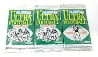 FLEER '91 Ultra NFL Football Trading Card Booster Pack Lot of 3