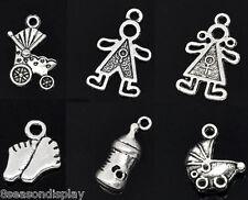 30PCs Mixed Silver Tone Baby Charms Pendants 11.6x8.5-24x15mm Zinc metal alloy