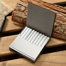 Ultrathin Genuine Leather Stainless Steel Tobacco 10 Cigarette Case Smoke Box