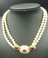 Vintage Two Strand Pearls and Diamante Necklace - 16""