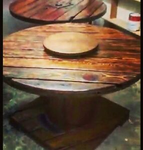 Rustic Wooden Cable Reel Table with Lazy Susan