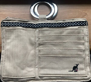 BRAND NEW POUCHEE KANGAROO HAND BAG POUCH PURSE WALLET BEIGE ORGANIZER COIN