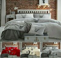 NEW STAG HEAD TEDDY BEAR FLEECE Duvet Quilt Cover+PillowCase  Warm Cozy All Size