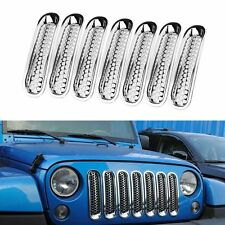 Bright Chrome Front Insert Mesh Grille Cover Trim For 2007-17Jeep JK Wrangler