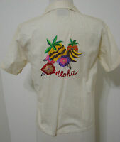 "Vintage Ecru Pinot Noir India ""ALOHA"" Embroidered Hawaiian SS Bowling Shirt M"