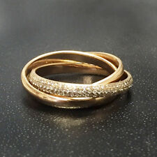 0.60Carat Round Diamond Pave Set Russian Trio Wedding Band in 18k Rose Gold