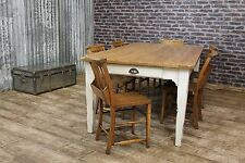 7FT RUSTIC RECLAIMED PINE TABLE WITH A DISTRESSED PAINTED SHABBY CHIC BASE