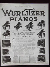 1923 Wurlitzer Pianos 12 Models Named and Shown Advertisement