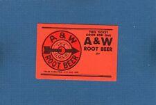 Vintage 1950's orange A & W Root Beer red target good for free ticket NOS