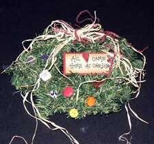 CUTE Folk Art Christmas WREATH Hearts Buttons HOLIDAY