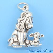 LION AND THE LAMB HEAVY 3D .925 Solid Sterling Silver Charm Pendant MADE IN USA