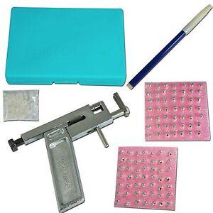 Ear Nose Navel Body Piercing Gun Pierce Mirror Marker Tool Kit With 98 PCS Studs