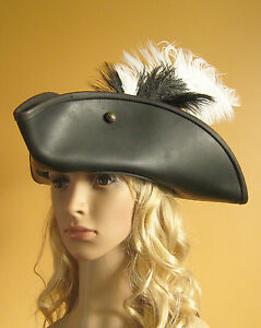 Pirate Women Hat Medieval Renaissance SCA Larp Leather Tricorn Pirate Hat Deluxe