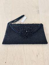 Beaded Wristlet Clutch Bag Black