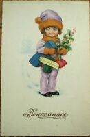 Art Deco 1920s New Year Postcard: Little Girl & Packages - Color Litho
