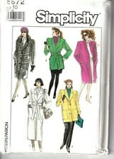 Simplicity Sewing Pattern Coats 3 Lengths Tie Belt 10 Patch Pockets Vintage 8872