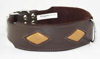 Brown Tan Diamond Shape Staffy Dog Collar Staffordshire Bull Terrier Collar