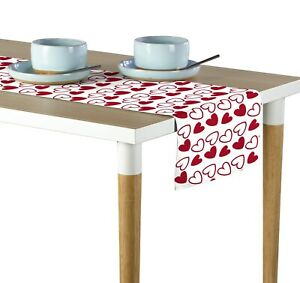 """Tossed Hearts Red & White Table Runners - 12""""x72"""" or 14""""x108"""""""