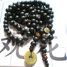 COLLIER MALA homme perles de santal 10 mm et monnaie chinoise