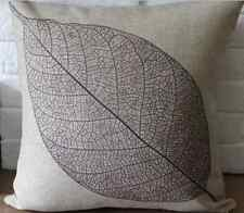 New Leaf Linen Cotton Natural Rustic Modern Cushion Cover Gift Vintage Home Case