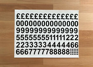 """1"""" (INCH) VINYL MONEY PACK NUMBERS STICKERS STICKY DECALS 1 SHEET TAKE AWAY"""