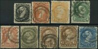 "Used Canada F+ NB NUMERAL ""7"" Scott #21-#28 1/2c-12c 1868-76 Large Queen Stamps"