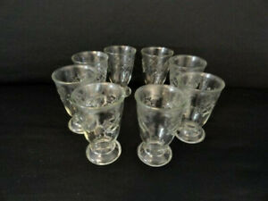 Lot of 8 Vintage Collectible Jelly Jar Ships Wheel Embossed Design Juice Glasses