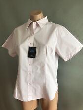 BNWT Ladies Sz 14 DNC Workwear Corporate Pink Stripe Business Short Sleeve Shirt