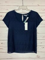 Collective Concepts Stitch Fix Women's S Small Navy Lace Spring Top Blouse NEW