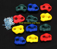 Rock Holds MultiColor Set of 12 W/hardware Rock Wall Climbing Rocks Playgrounds