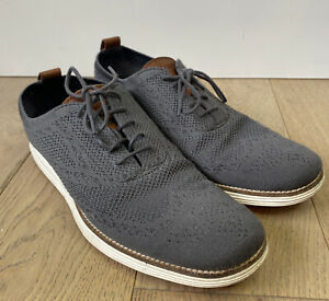 Cole Haan Grand OS Gray Knit Wingtip Oxfords Shoes Men's 9.5