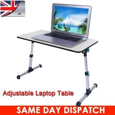 UK Adjustable Fold Laptop Table Stand Lap Sofa Bed Tray Computer Desk Light Grey